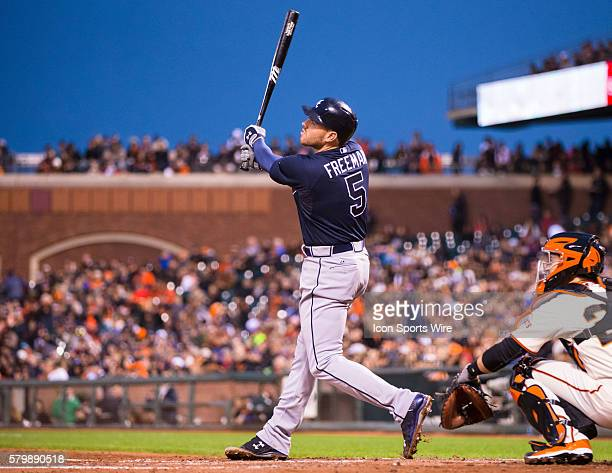 Atlanta Braves first baseman Freddie Freeman at bat and following the trajectory of the ball during the game between the San Francisco Giants and the...