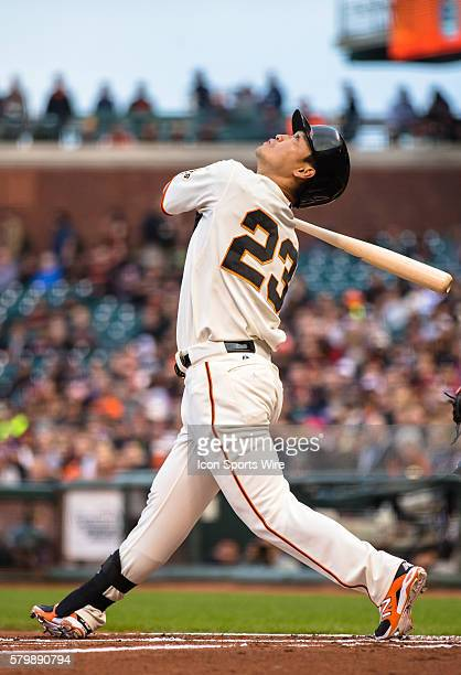 San Francisco Giants left fielder Nori Aoki at bat and following the trajectory of the ball in the first inning during the game between the San...