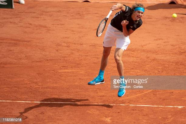 May 28 Alexander Zverev of Germany in action against John Millman of Australia on Court PhilippeChatrier in the Menu2019s Singles first round match...