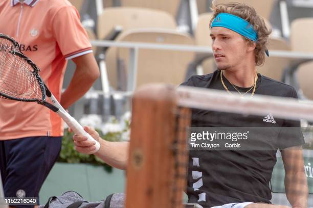 May 28 Alexander Zverev of Germany smashes his racquet during his match against John Millman of Australia on Court PhilippeChatrier in the Menu2019s...
