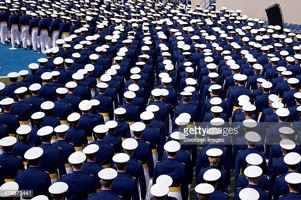 may 29, 2013 - the u.s. air force academy class of 2013 marches into the academy's falcon stadium for graduation in colorado springs, colorado. - air force academy graduation stock pictures, royalty-free photos & images