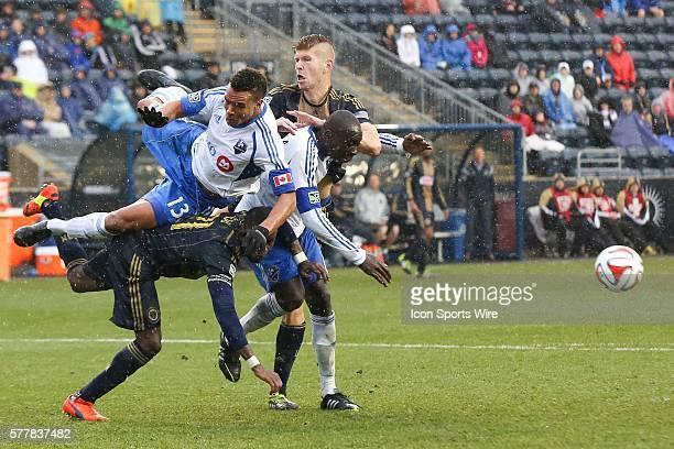 Montreal Impact midfielder Sanna Nyassi , defender Hassoun Camara , Philadelphia Union midfielder Maurice Edu and forward Aaron Wheeler all collide...