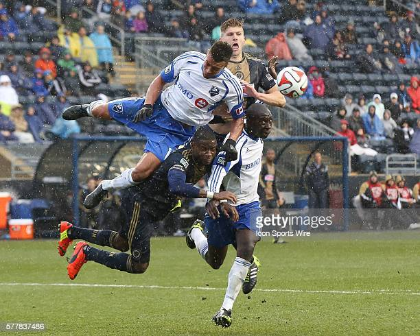 Montreal Impact midfielder Sanna Nyassi defender Hassoun Camara Philadelphia Union midfielder Maurice Edu and forward Aaron Wheeler all collide as...