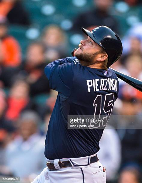 Atlanta Braves catcher AJ Pierzynski at bat and following the trajectory of the ball during the MLB game between the San Francisco Giants and the...