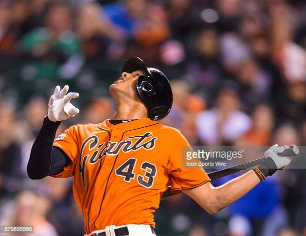 San Francisco Giants right fielder Justin Maxwell pinchhitting in the 8th inning during the MLB game between the San Francisco Giants and the Atlanta...