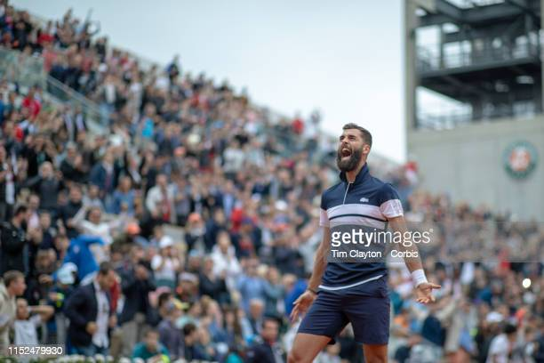 May 29. Benoit Paire of France celebrates his victory over fellow countryman Pierre-Hugues Herbert of France winning11-9 in the fifth set during the...