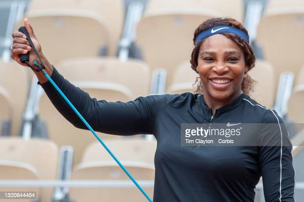 May 29. Serena Williams of the United States shares a joke with coach Patrick Mouratoglou while training on Court Philippe-Chatrier in preparation...