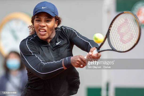 May 29. Serena Williams of the United States training on Court Philippe-Chatrier in preparation for the 2021 French Open Tennis Tournament at Roland...