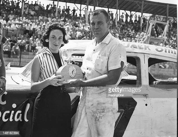 Jack Smith in victory lane after driving his 1957 Chevrolet to the win in the NASCAR Cup race at GreenvillePickens Speedway