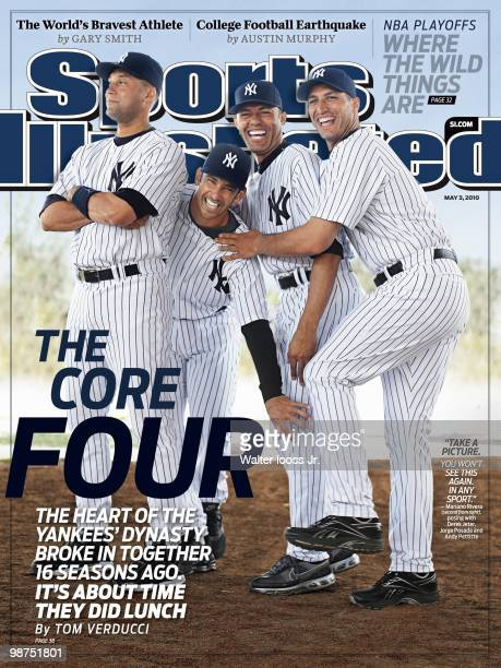 Baseball Portrait of New York Yankees Derek Jeter Jorge Posada Mariano Rivera and Andy Pettitte Tampa FL 3/26/2010 CREDIT Walter Iooss Jr