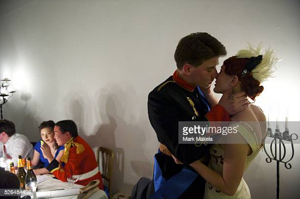 May 3 2011 London England UK Costumed royalists attend a 1923 themed speakeasy celebrating the royal wedding of King Albert and Lady Elizabeth...