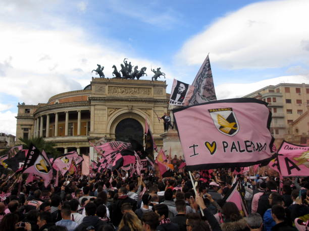 PALERMO, ITALY - May 3, 2014 - Fans of US Citta di Palermo celebrate promotion to Serie A