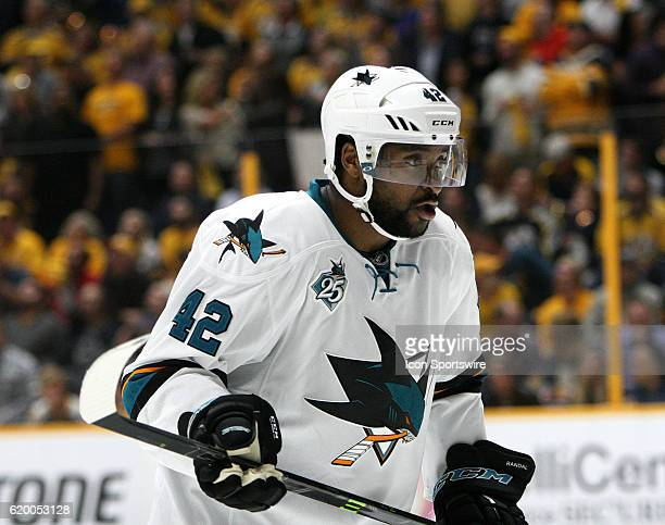 San Jose Sharks right wing Joel Ward is shown during game three of the semifinal round of the Stanley Cup Playoffs between the Nashville Predators...