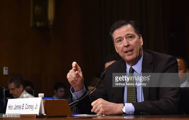 WASHINGTON May 3 2017 US FBI Director James Comey testifies before the US bipartisan Senate Judiciary Committee hearing on Capitol Hill in Washington...