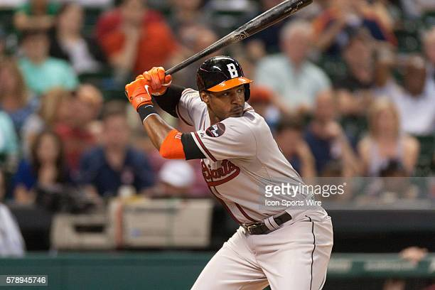 Baltimore Orioles center fielder Adam Jones at the plate during the baseball. Players wearing the Civil Rights Era uniforms in Houston.