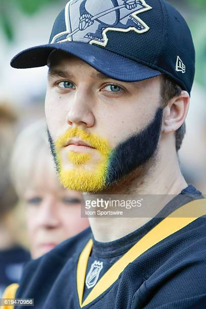 Penguins fan sports a gold and black painted beard prior to the San Jose Sharks and Pittsburgh Penguins NHL Stanley Cup playoff game at Consol Energy...