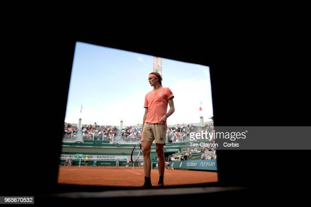 May 30 French Open Tennis Tournament Day Four Alexander Zverev of Germany shot through the pit opening at the end of Court One during his match...