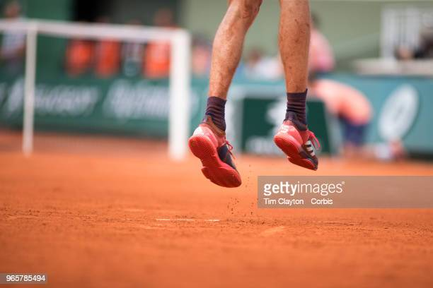 May 30 French Open Tennis Tournament Day Four Alexander Zverev of Germany serving against Dusan Lajovic of Serbia on Court One in the Menu2019s...