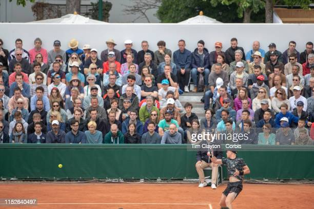 May 30 Kyle Edmund of Great Britain in action against Pablo Cuevas of Uruguay during the Men's Singles second round match on Court Six at the 2019...