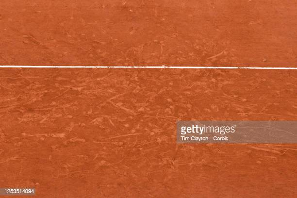 May 30. The markings on the clay court of Court Suzanne Lenglen during the Naomi Osaka of Japan match against Victoria Azarenka of Belarus during the...