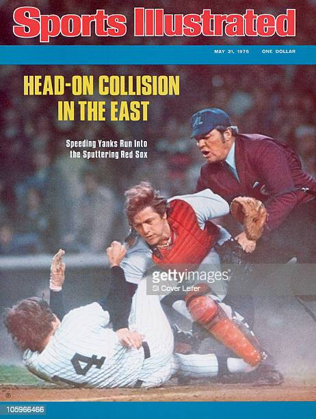 May 31 1976 Sports Illustrated via Getty Images Cover Baseball Boston Red Sox Carlton Fisk in action making tag out vs New York Yankees Lou Piniella...