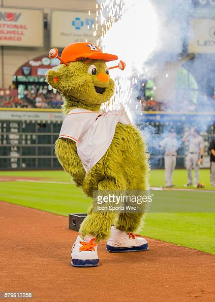 Houston Astros mascot Orbit celebrates his 50th birthday during the MLB game between the Chicago White Sox and the Houston Astros at Minute Maid Park...
