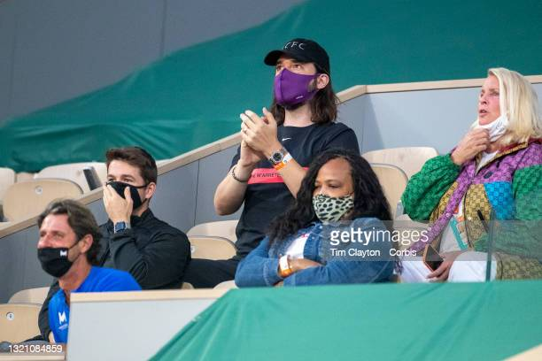 May 31. Alexis Ohanian, hisband of Serena Williams of the United States and her team watching her in action against Irina-Camelia Begu of Romania on...