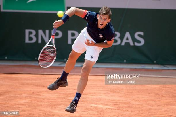 May 31 French Open Tennis Tournament Day Five Dominic Thiem of Austria in action against Stefanos Tsitsipas of Greece on Court Eighteen in the Men's...
