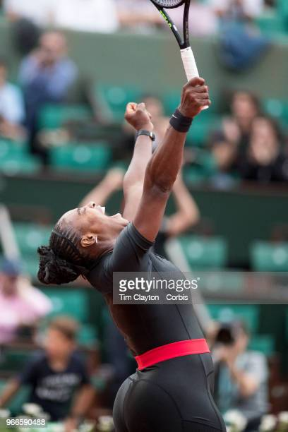 May 31 French Open Tennis Tournament Day Five Serena Williams of the United States celebrates her victory against Ashleigh Barty of Australia on...