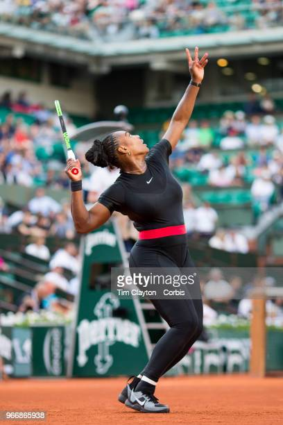 May 31. French Open Tennis Tournament - Day Five. Serena Williams of the United States in action against Ashleigh Barty of Australia on Court...