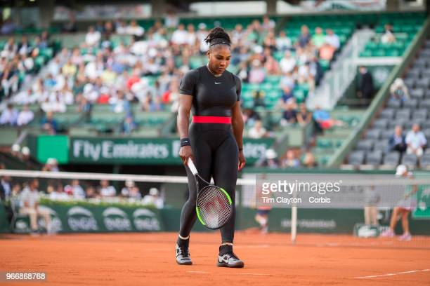 May 31 French Open Tennis Tournament Day Five Serena Williams of the United States in action against Ashleigh Barty of Australia on Court...