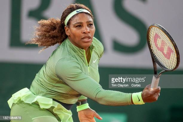 May 31. Serena Williams of the United States in action against Irina-Camelia Begu of Romania on Court Philippe-Chatrier during the first round of the...