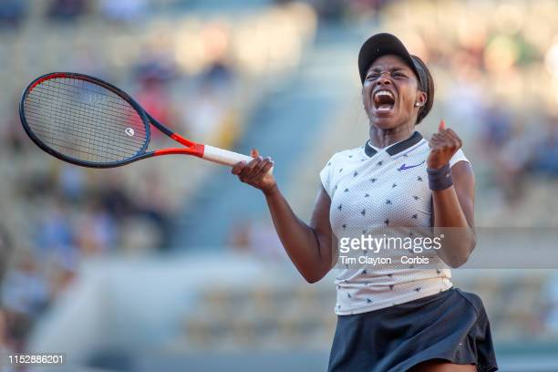 May 31 Sloane Stephens of the United States celebrates victory against Polona Hercog of Slovenia during the Women's Singles third round match on...