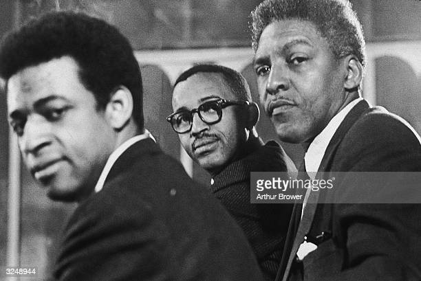 LR American civil rights activists Norman Hill program director for CORE Bayard Rustin director of the March on Washington and Frederick D Jones...