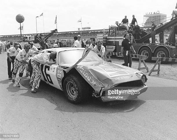 Bobby Allison's Roger Penskeowned AMC Matador is pushed back to the pit area at Talladega Superspeedway during the Winston 500 NASCAR Cup race...