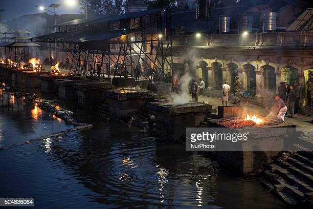 KATHMANDU NEPAL May 4 2015Cremations at the Pashupatinath temple on the banks of the Bagmati River in Kathmandu following the April 25 earthquake...