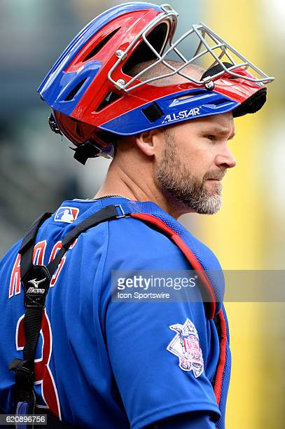 Chicago Cubs Catcher David Ross [3068] looks back at the dugout during the Pittsburgh Pirates game versus the Chicago Cubs at PNC Park in Pittsburgh,...