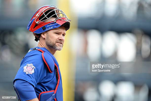 Chicago Cubs catcher David Ross [3068] looks back to his dugout during the Pittsburgh Pirates game versus the Chicago Cubs at PNC Park in Pittsburgh,...