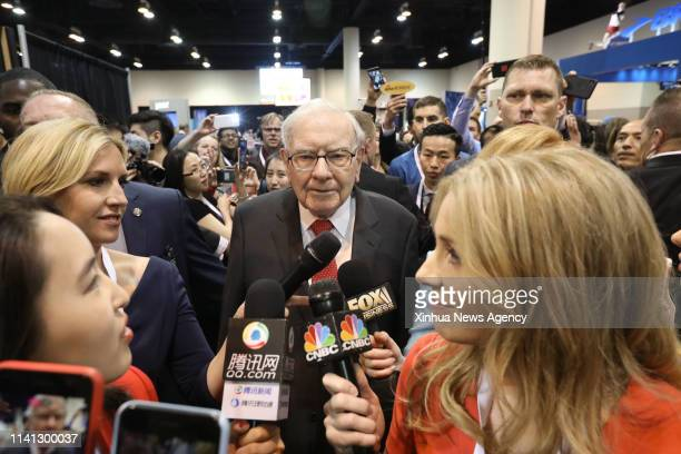 OMAHA May 4 2019 Warren Buffett C chairman and CEO of Berkshire Hathaway speaks to reporters during the company's annual shareholders meeting in...