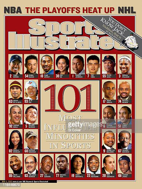 May 5 2003 Sports Illustrated via Getty Images Cover 101 Most Influential Minorities Golf Tiger Woods in Carlsbad CA on 2/27/03 Baseball Seattle...