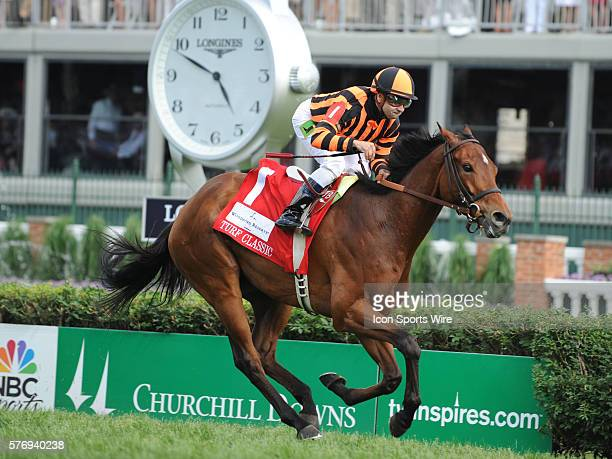 May 5, 2012 Little Mike ridden by Joe Bravo wins the Woodford Reserve Turf Classic at Churchill Downs, Louisville, KY