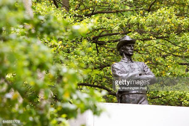 A lifesize bronze statue of a Confederate soldier stands in a grove outside the courthouse on May 5 2016 in Rockville MD