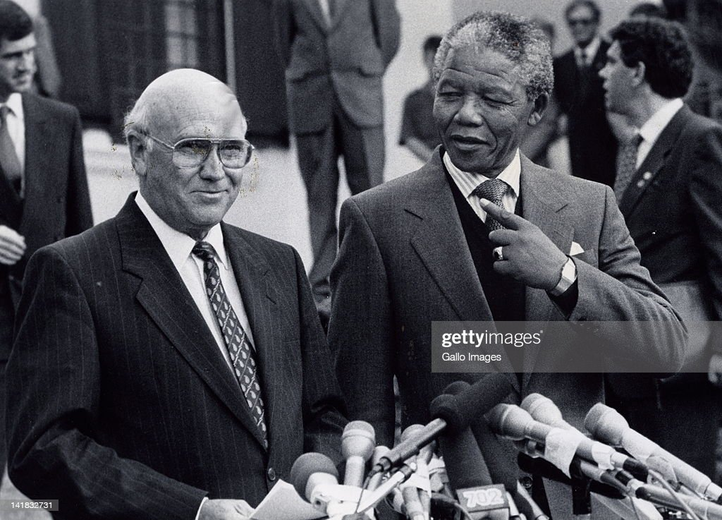 President F.W. de Klerk and Nelson Mandela during negotiations between the government and the ANC.