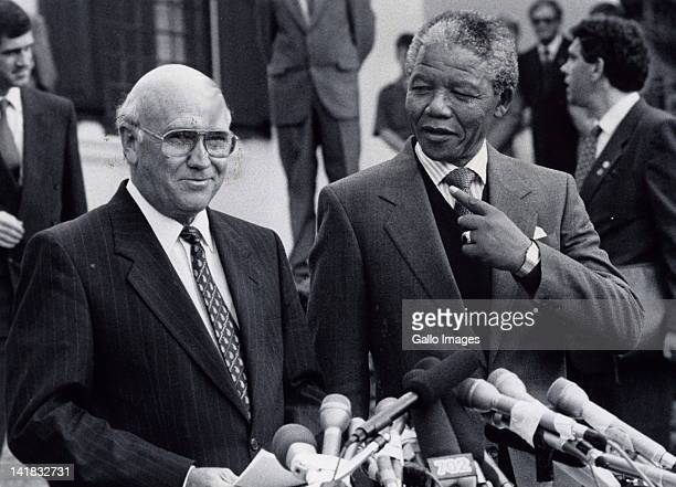 May 6,1990: President F.W. De Klerk and Nelson Mandela during negotiations between the government and the ANC.