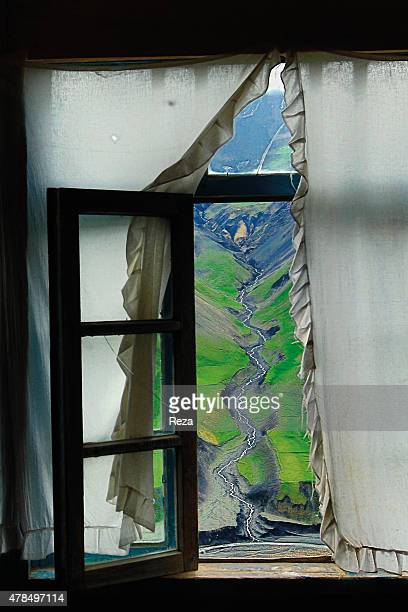 May 7 Khinalig Village Guba district Azerbaijan The Khinalig River located on a summit in the Caucasus Mountains seen through a window of a familys...