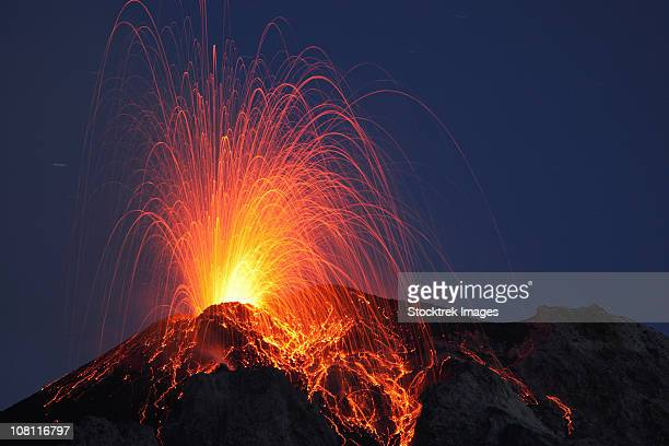 may 8, 2009 - stromboli eruption, aeolian islands, north of sicily, italy. - volcanic activity stock pictures, royalty-free photos & images