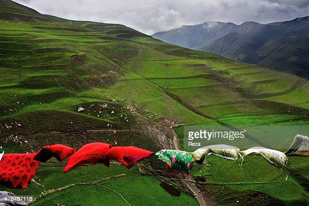 May 8 Khinalig Village Guba district Azerbaijan The heavy mountain winds in the Khinalig Village blow laundry hanging on a clothesline to dry Located...