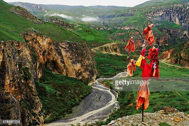 May 8 Road from the Khinalig Village to Gabala Region Azerbaijan The view along the drive from the Khinalig Village to the Gabala Region Located on a...