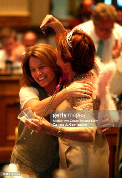 May 9 2005 / Denver / State Representatives Lynn Hefley a Republican from Colorado Springs and Alice Madden a Democrat from Boulder share a laugh...