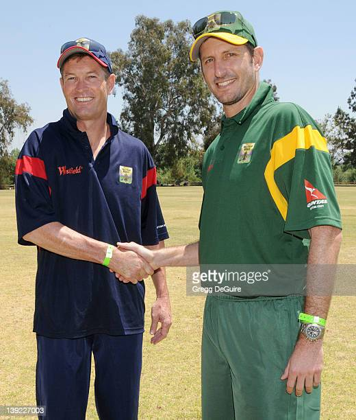 May 9 2009 Van Nuys Ca Graham Hick and Michael Kasprowicz The Westfield Hollywood Ashes Cricket Match Held at Woodley Park Cricket Field